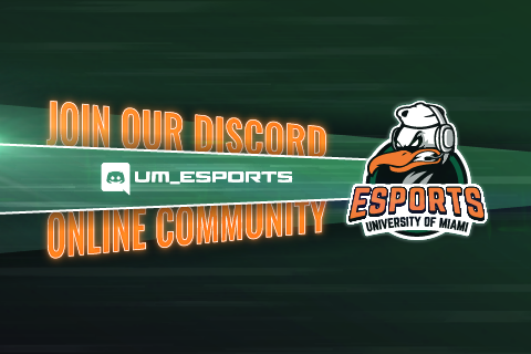 Esports University of Miami logo with text: Join our Discord online community: UM_Esports